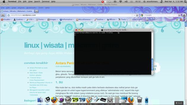 Buka Firefox dengan sudo